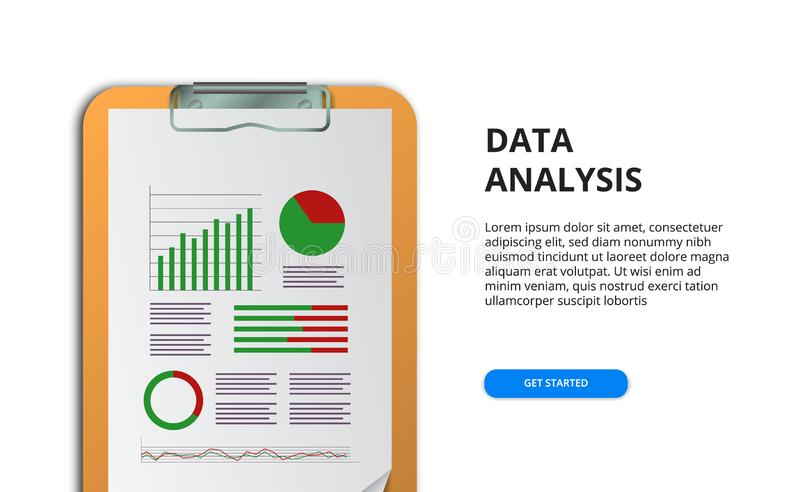 Spreadsheet for financial report with chart and graph. business concept. data analysis for marketing, auditing, research, case stock illustration