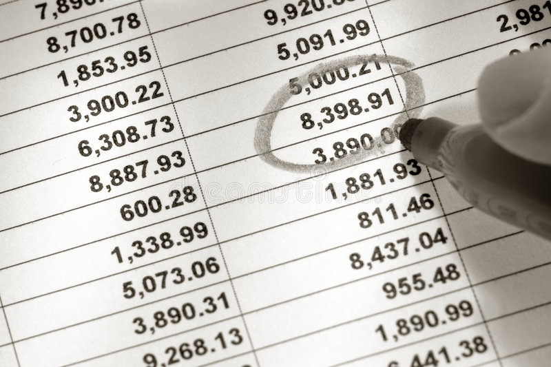 Spreadsheet and Number Circled with Marker. Financial spreadsheet with columns and rows of dollar figures numbers with one single number being circled with stock photography