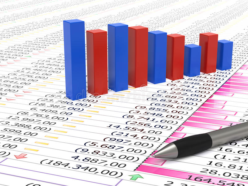 Spreadsheet And Pen Royalty Free Stock Images