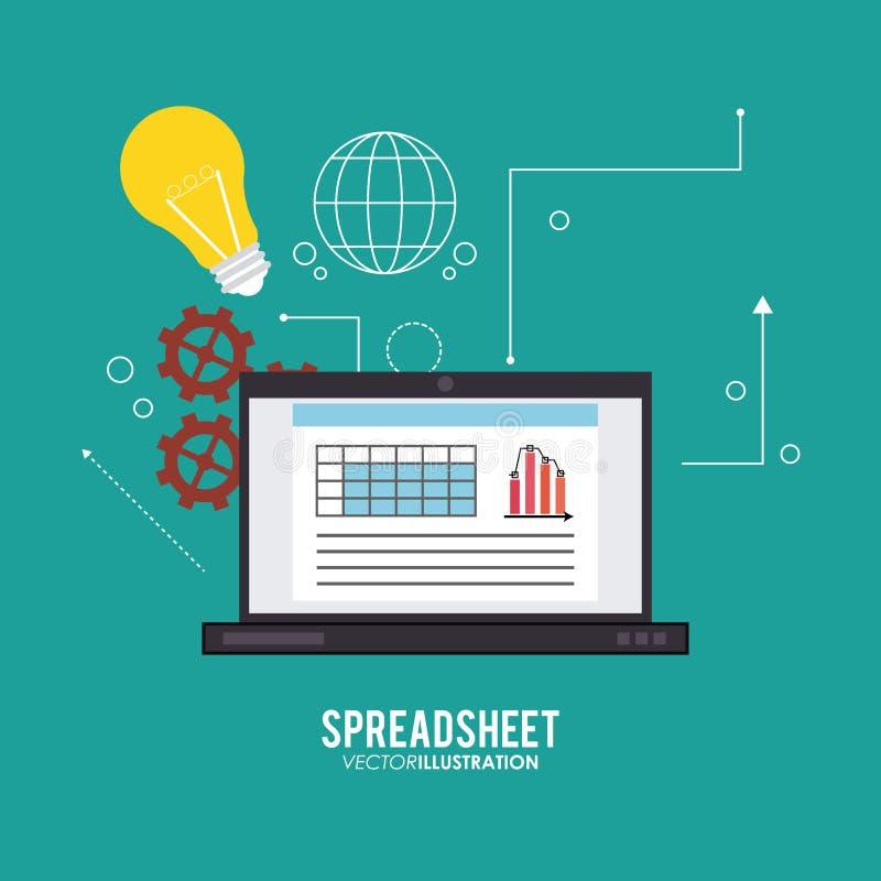 Spreadsheet projekt, technologia i infographic pojęcie, ilustracja wektor