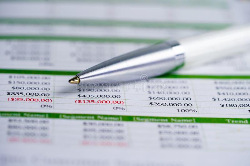 Spreadsheet table paper with pen. Finance development, Banking Account, Statistics Investment Analytic research data economy. Trading, Mobile office reporting stock photo