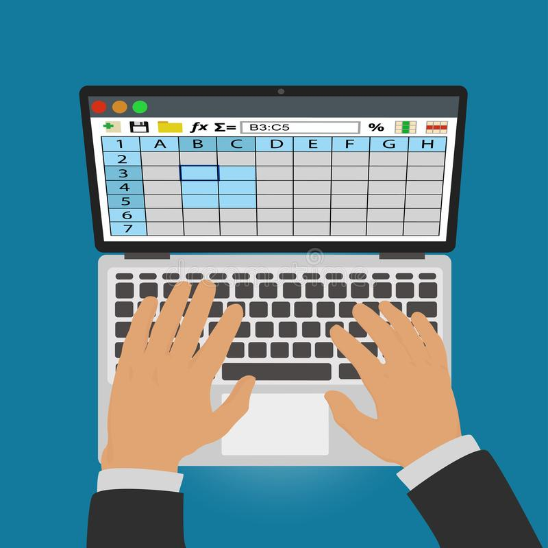 Spreadsheets. Work on laptop royalty free illustration