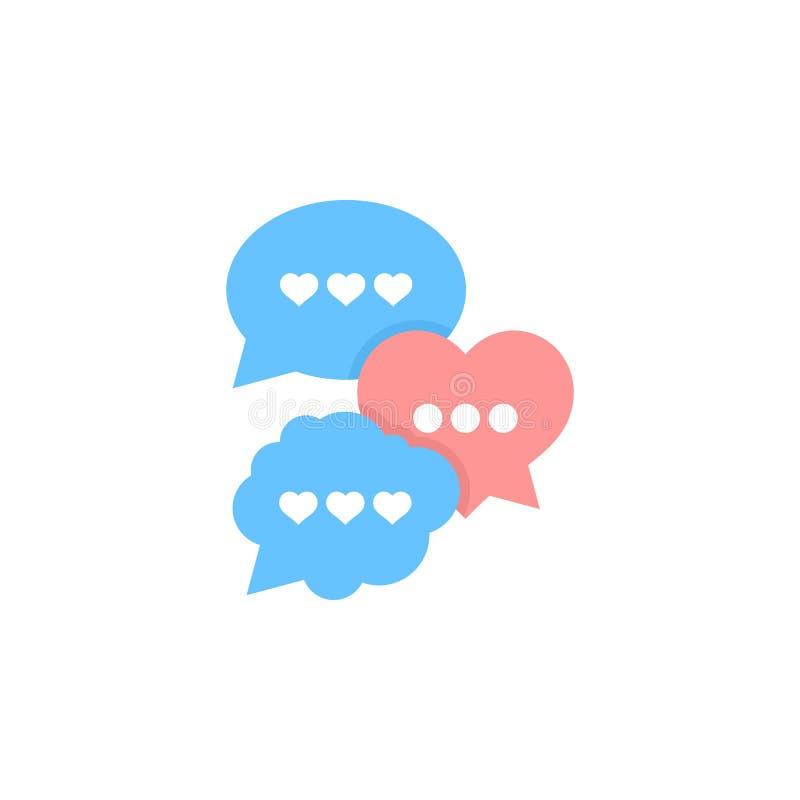 Sprechen über Liebe, Blasensprache-Vektorillustration stock abbildung