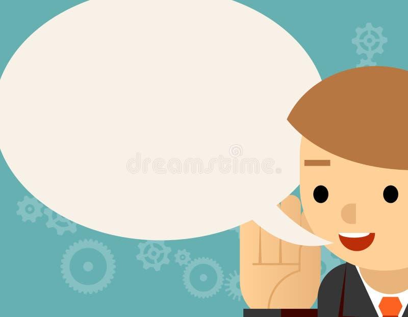 sprechen Geschäftsmann und Spracheblase lizenzfreie abbildung
