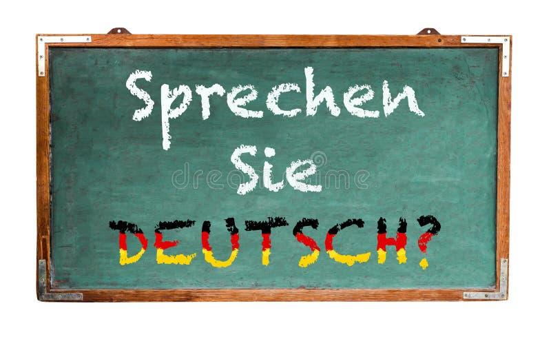 """Sprechen Sie Deutsch?"" in German language, Do you speak German? written on a wide green old grungy vintage wooden chalkboard royalty free illustration"