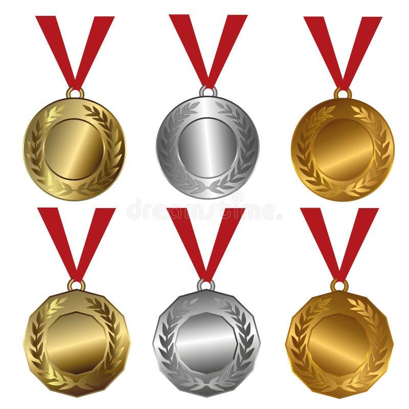 Sprechen Sie Medaillen Gold, Silber- und Bronzedichtungen oder Medaillen zu lizenzfreie abbildung
