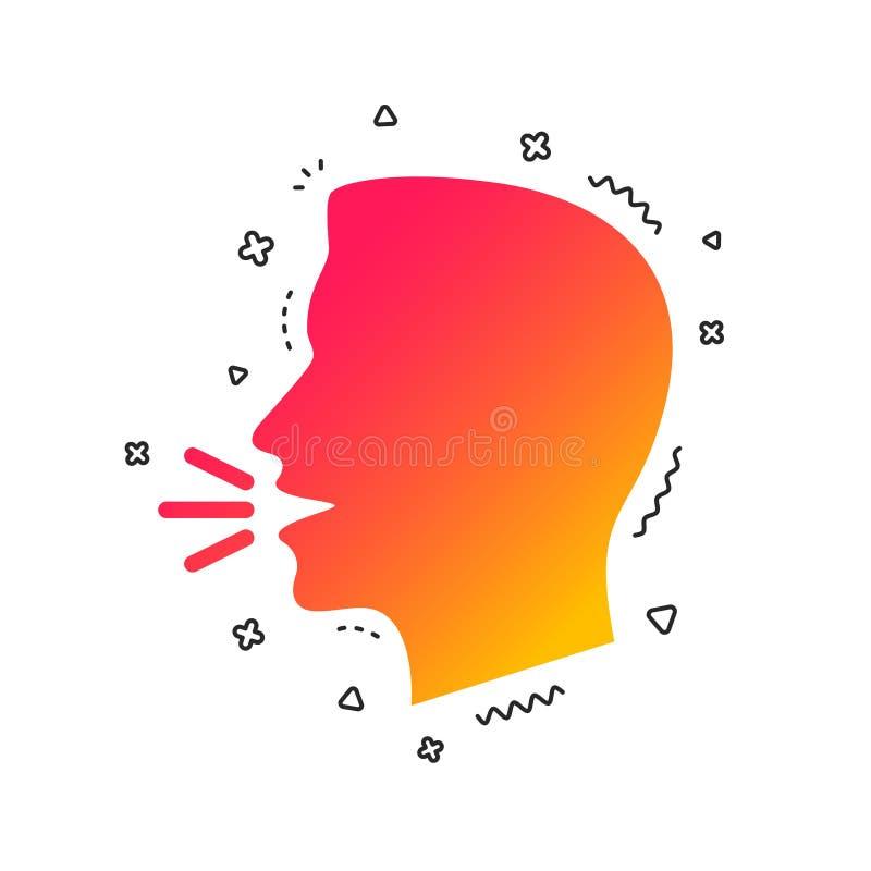 Sprechen Sie oder sprechen Sie Ikone Symbol der lauten Geräusche Vektor stock abbildung