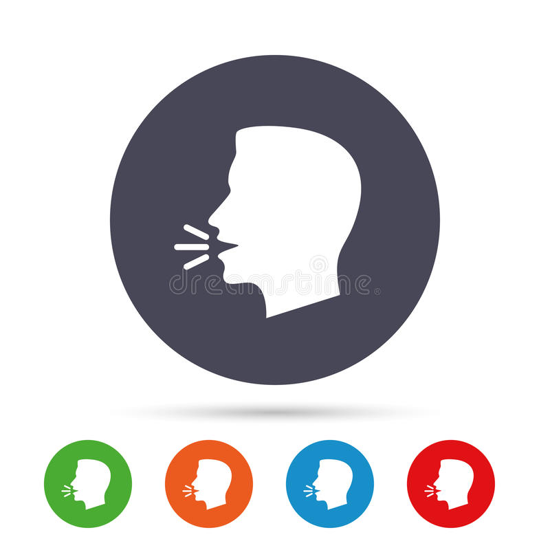 Sprechen Sie oder sprechen Sie Ikone Symbol der lauten Geräusche lizenzfreie abbildung