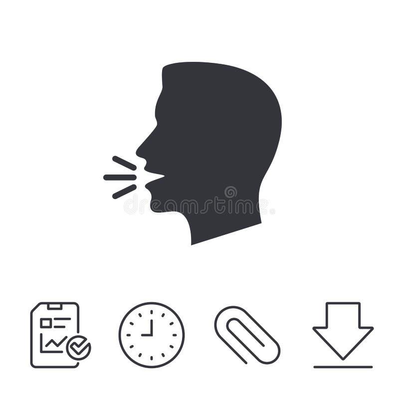 Sprechen Sie oder sprechen Sie Ikone Symbol der lauten Geräusche stock abbildung