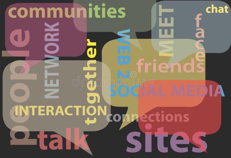 Sprechen Sie Sozialmedianetz-Wortluftblasen lizenzfreie abbildung