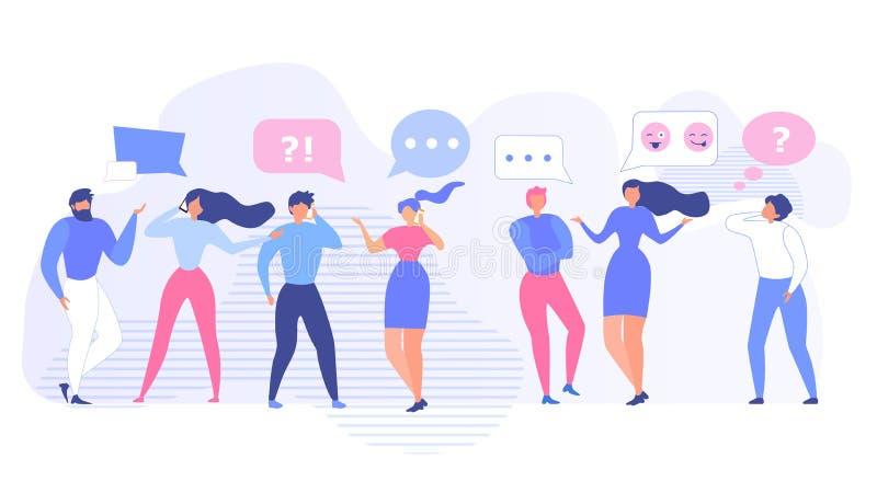 Sprechende Leute-Gemeinschaft und unter Verwendung des Gerät-Satzes stock abbildung