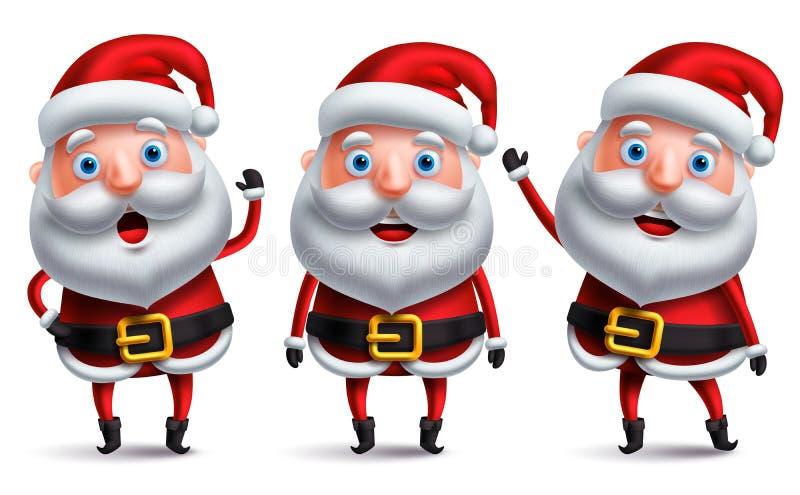 Sprechender und bei der Stellung und dem Aufgeben von Händen lächelnder Weihnachtsmann-Weihnachtszeichensatz vektor abbildung