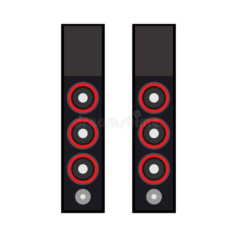 Sprechertechnologieausrüstungsentwurfs-Medienvolumen elektronisch Solider Gerätvektor des schwarzen Systematelierfests akustisch stock abbildung