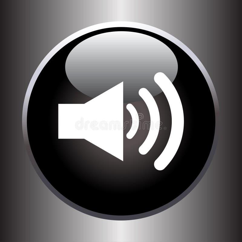 Sprechervolumenikone auf schwarzem Glasknopf vektor abbildung