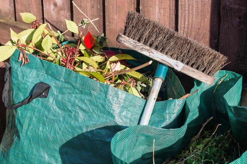 Spreco del giardino nella borsa dei rifiuti fotografia stock libera da diritti