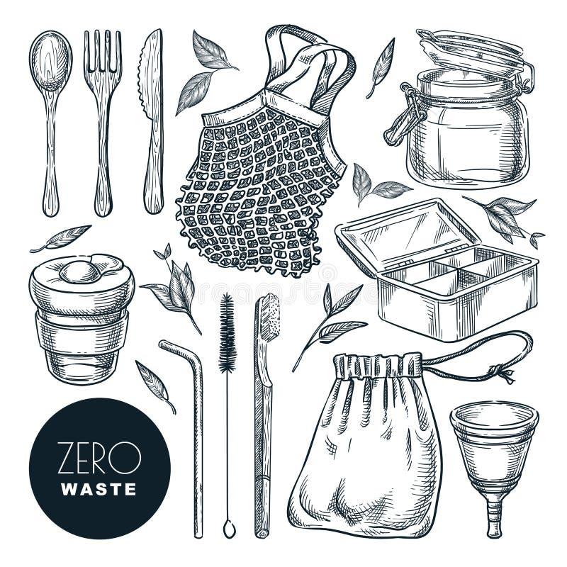 Spreco zero, illustrazione di schizzo Oggetti ed accessori riutilizzabili naturali disegnati a mano Icone amichevoli delle merci  illustrazione vettoriale