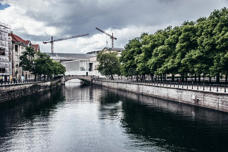 A Spree river view from Friedrichs Bridge, near Bode museum, Central Berlin, Germany royalty free stock photos