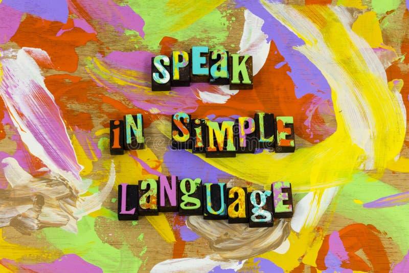 Spreek bespreking de eenvoudige taalwoorden raadplegen communiceren luisteren stock afbeelding