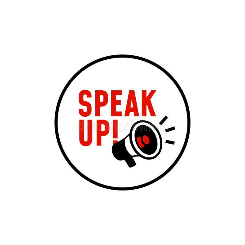 Spreek omhoog vectoretiketontwerp eenvoudige illustratie met megafoonpictogram met luid sprekerseffect royalty-vrije illustratie