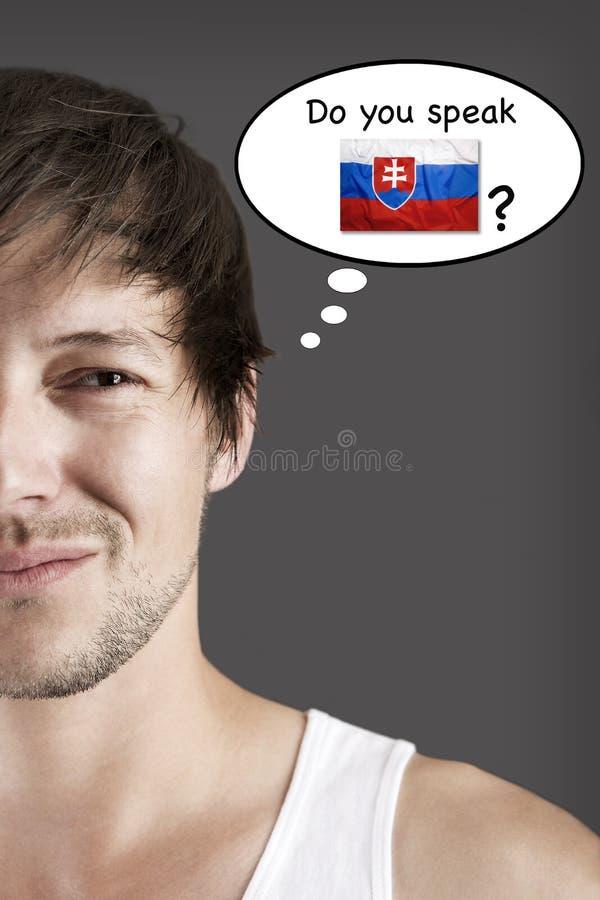 Spreekt u Slowaak? royalty-vrije stock afbeelding