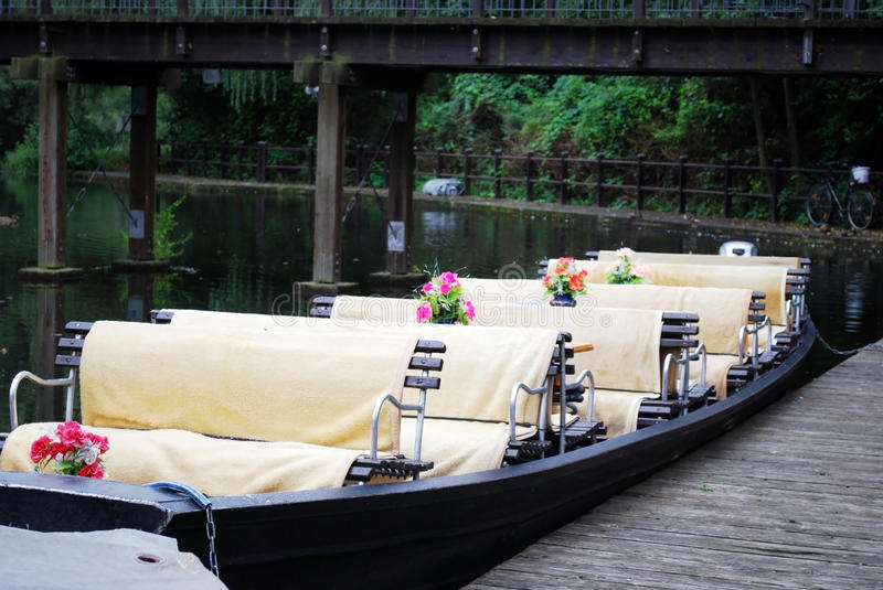 Spreewald boat. Typical spreewald boat for trips on the canals in lubbenau, germany royalty free stock image