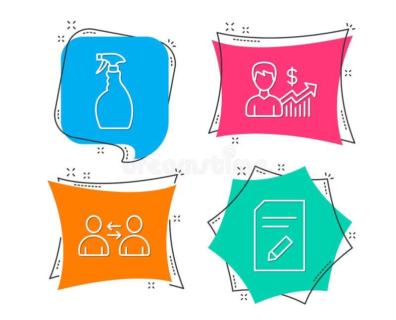 Sprej-, affärstillväxt och kommunikationssymboler Redigera dokumenttecknet royaltyfri illustrationer