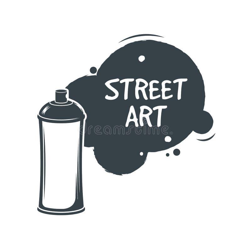 Sprej för ærosolgrafittimålarfärg Stree konstbegrepp etikett också vektor för coreldrawillustration Grafittistil royaltyfri illustrationer