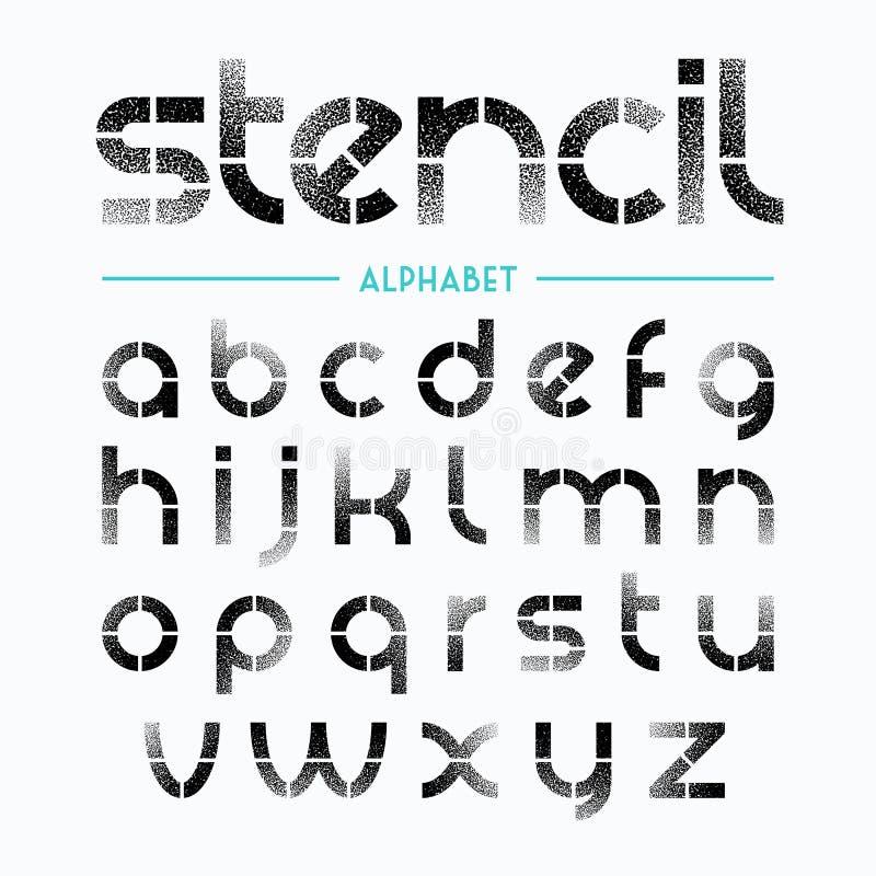 Sprej målade stencilalfabetbokstäver stock illustrationer