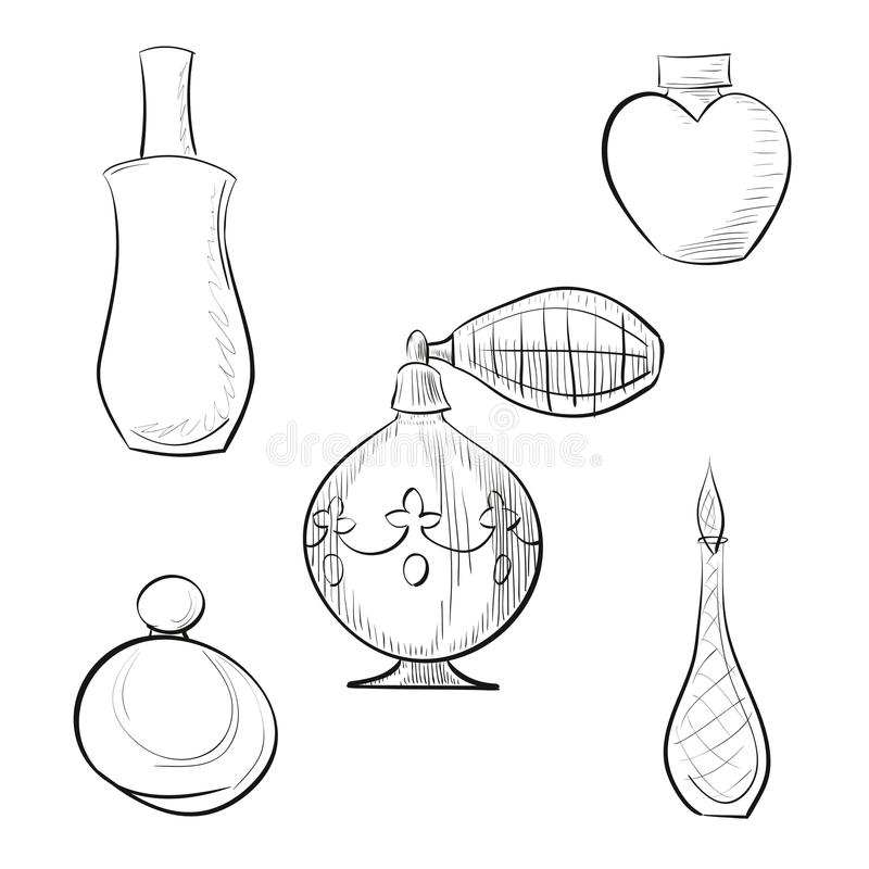 Sprejare för vektorillustrationdoft och uppsättning för översikt för fyra doftflaskor hand dragen vektor illustrationer