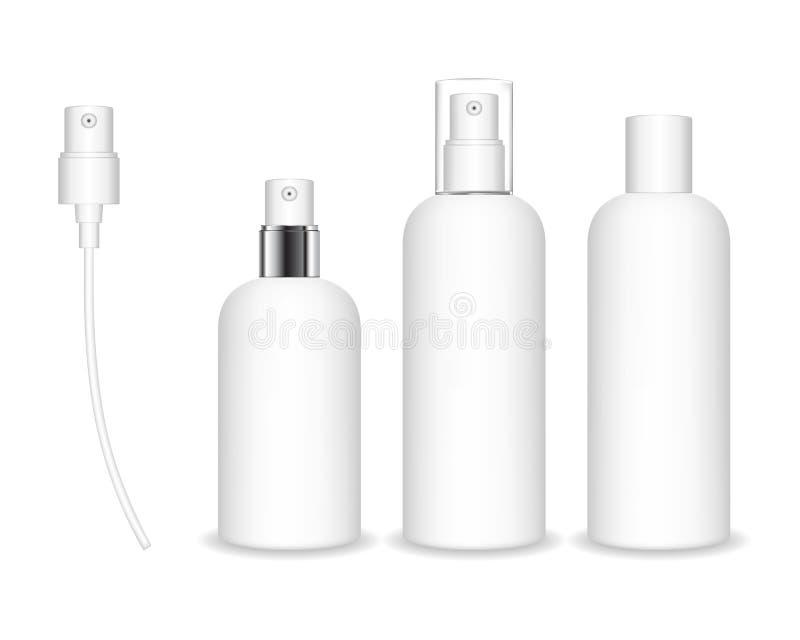 Sprejflaskor som isoleras p? vit bakgrund Den kosmetiska behållaren för flytande, stelnar, lotion, kräm royaltyfri illustrationer