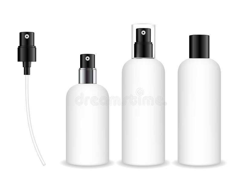 Sprejflaskor som isoleras p? vit bakgrund Den kosmetiska beh?llaren f?r flytande, stelnar, lotion, kr?m royaltyfri illustrationer
