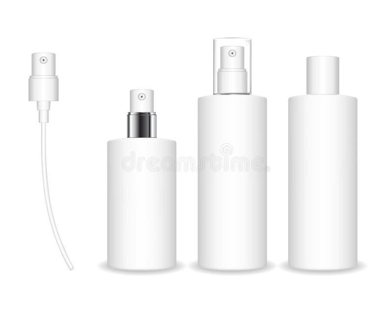Sprejflaskor som isoleras p? vit bakgrund Den kosmetiska beh?llaren f?r flytande, stelnar, lotion, kr?m stock illustrationer