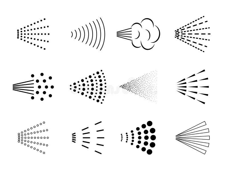 Sprejsymbol Flaskluftsprejare, stänk för badrumdysaærosol, spridd svart deodorant, droppar för rent vatten vektor royaltyfri illustrationer