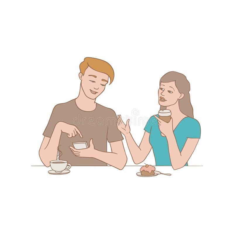 Sprekende mensen vectorillustratie - meisje en jongenszitting bij lijst met koffie en mobiele telefoons en het bespreken van kwes vector illustratie