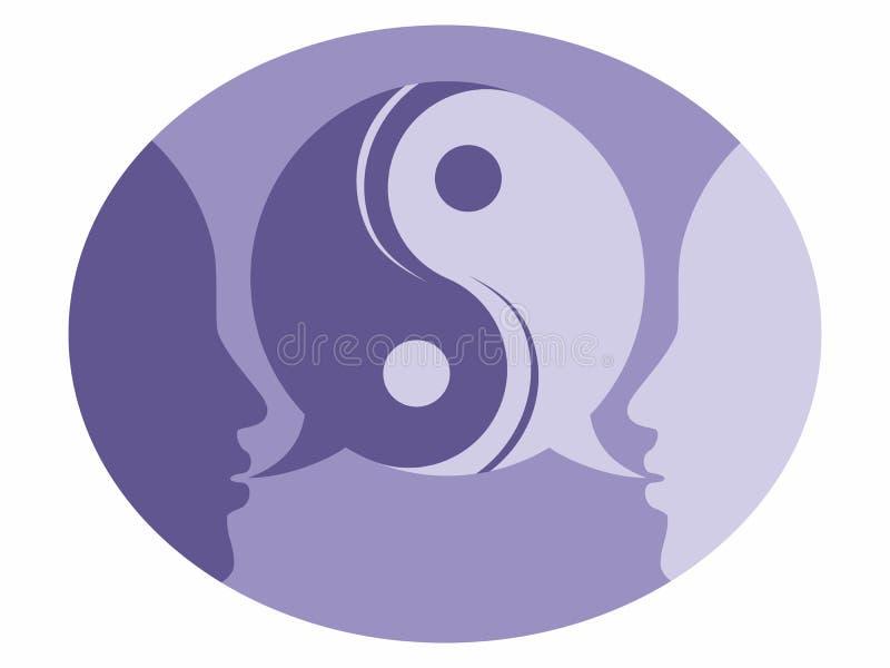 Sprekende therapiehoofden in evenwicht besprekingspsychotherapie het adviseren het merksymbool van het hulpembleem vector illustratie