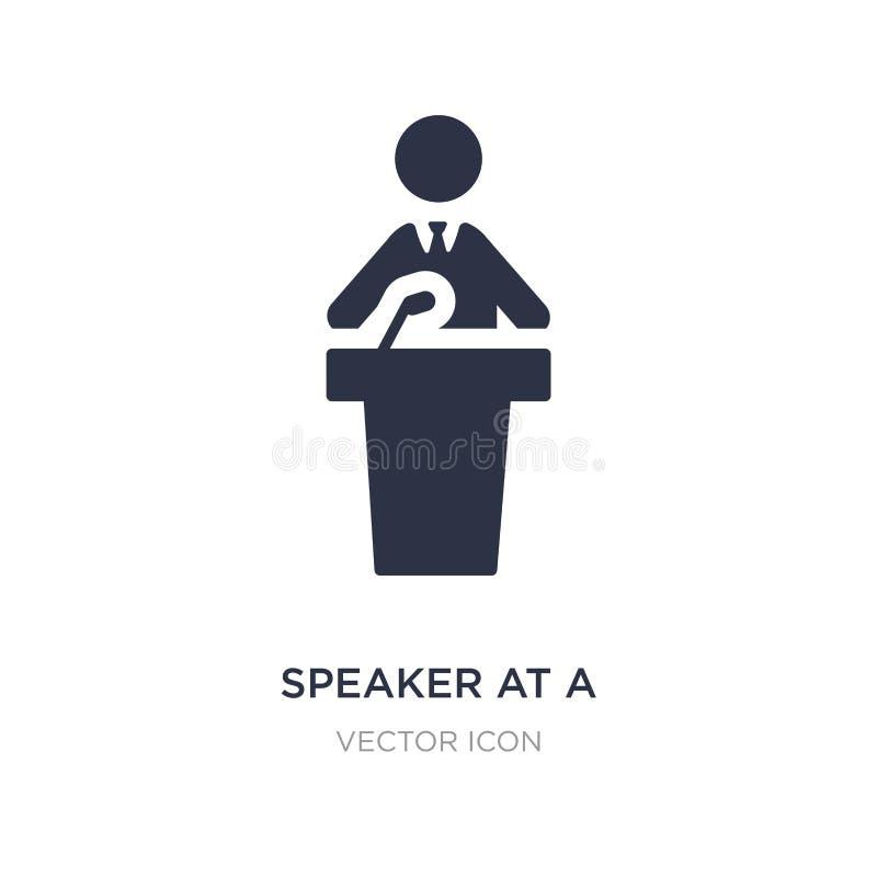 spreker bij een conferentiepictogram op witte achtergrond Eenvoudige elementenillustratie van Mensenconcept vector illustratie