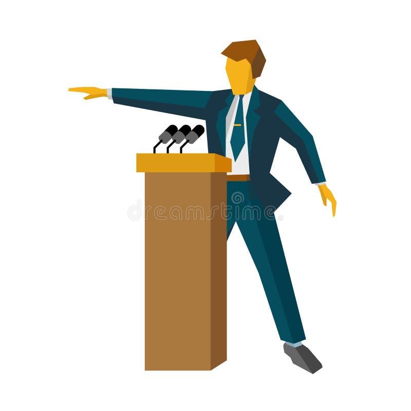 Spreker bij podium Mens die zich bij rostra met microfoons bevinden stock illustratie