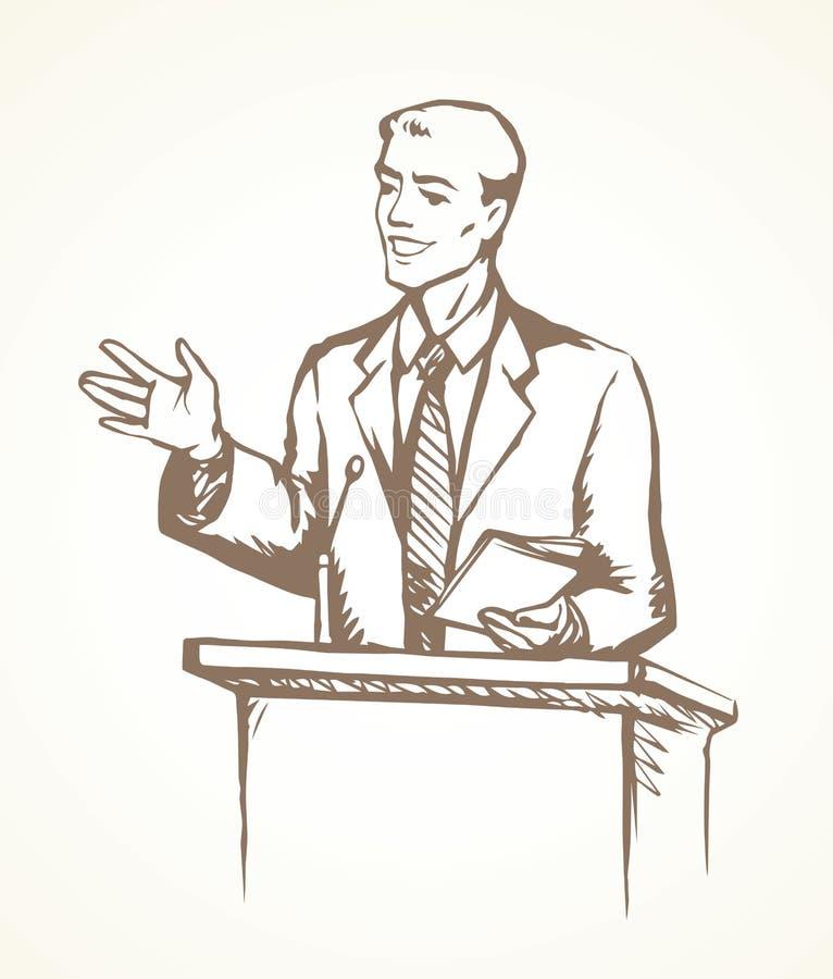 Spreker bij podium Vector tekening stock illustratie