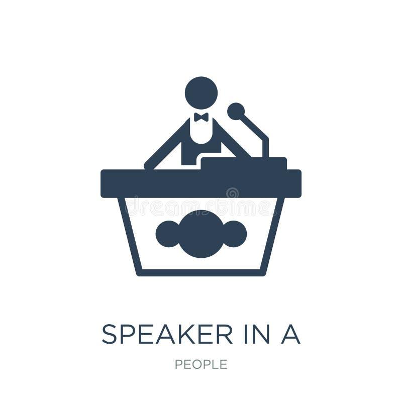 spreker in een conferentiepictogram in in ontwerpstijl spreker in een conferentiepictogram op witte achtergrond wordt geïsoleerd  vector illustratie