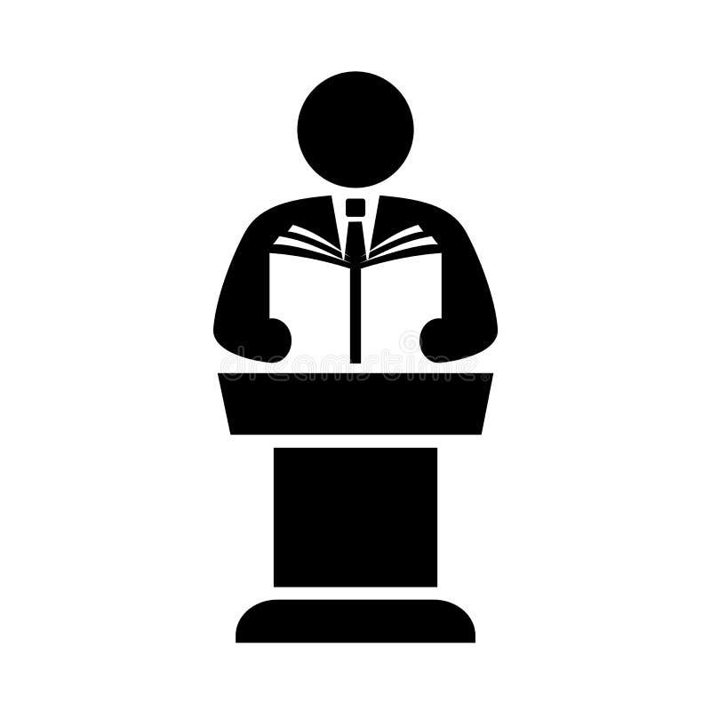 Spreker en podium vectorpictogram royalty-vrije illustratie