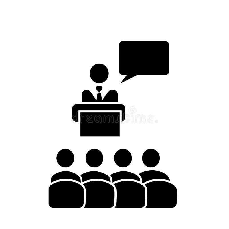 Spreker met publiek en het vectorpictogram van de toespraakbel in vlakke stevige zwarte stijl De presentatieteken van de podiumco royalty-vrije illustratie