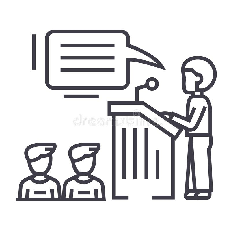 Spreker, presentatie, pictogram van de de tribune het vectorlijn van de podiumtribune, teken, illustratie op achtergrond, editabl vector illustratie