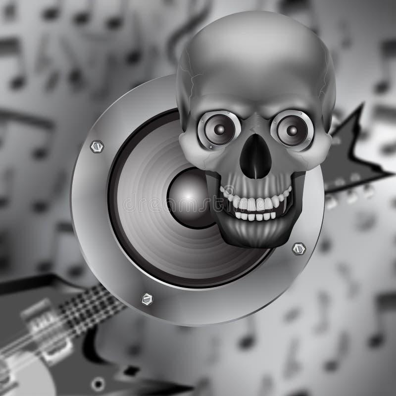 Spreker, schedel en elektrische gitaar stock illustratie