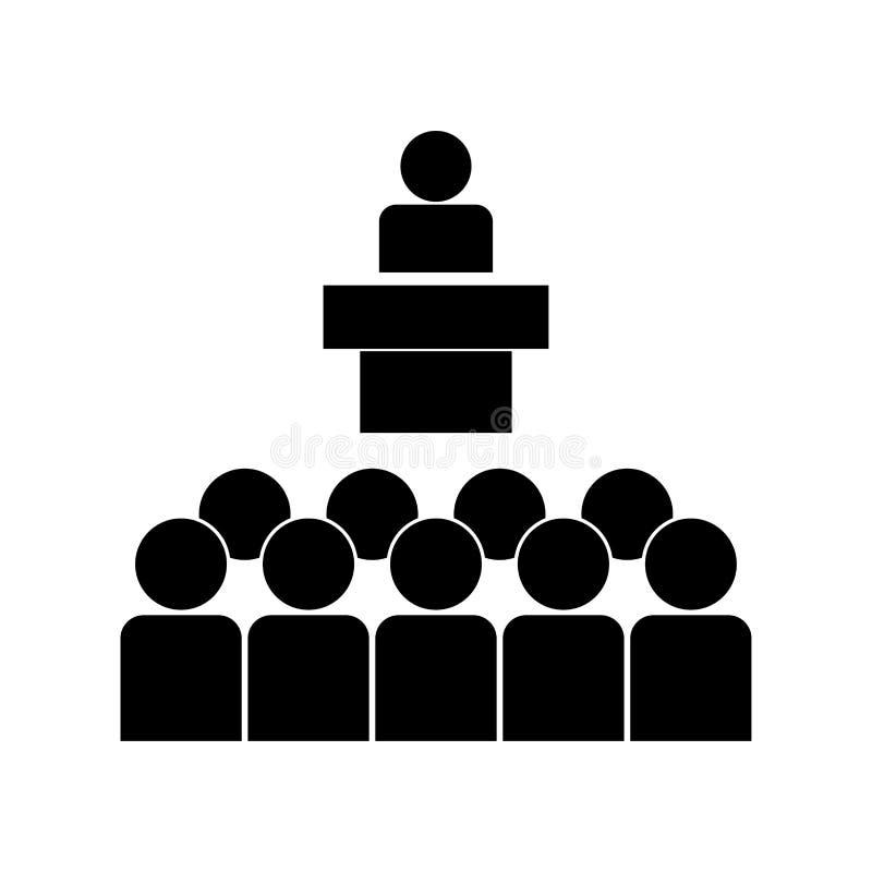 Spreker vóór het publieks zwarte pictogram stock illustratie