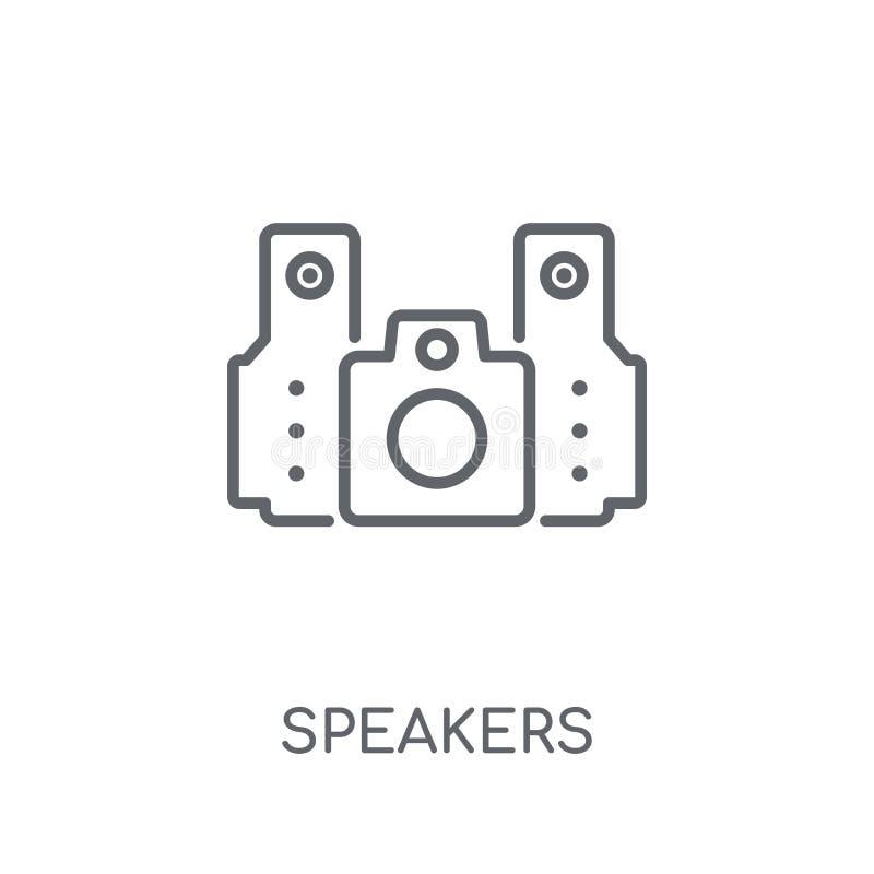 Sprekers lineair pictogram Modern het embleemconcept van overzichtssprekers op wh vector illustratie