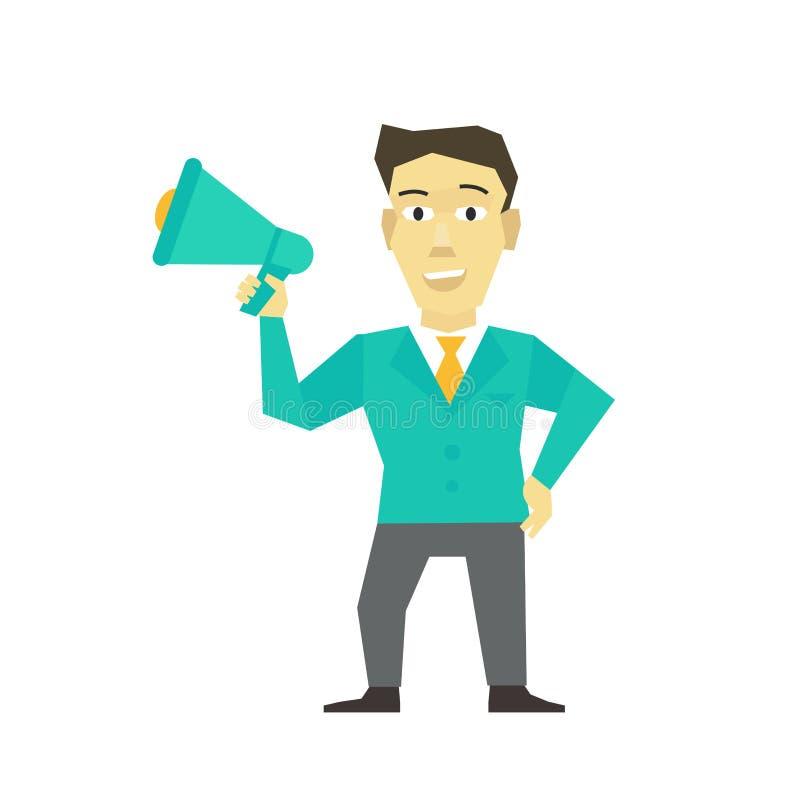 Sprekersmens met hoorn, megafoon van de speakerphonemanager van de luidsprekerspersoon de leidersbericht Bedrijfsmensenpoliticus  vector illustratie