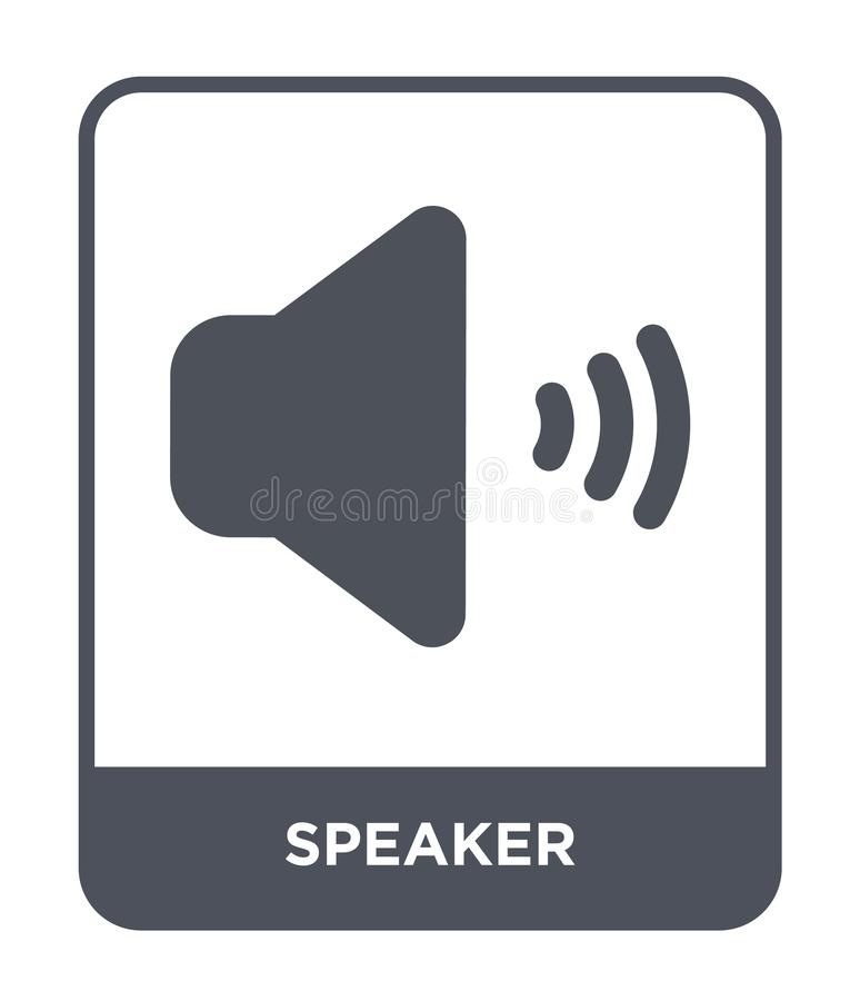 sprekerspictogram in in ontwerpstijl Sprekerspictogram op witte achtergrond wordt geïsoleerd die eenvoudige en moderne vlakke sym vector illustratie