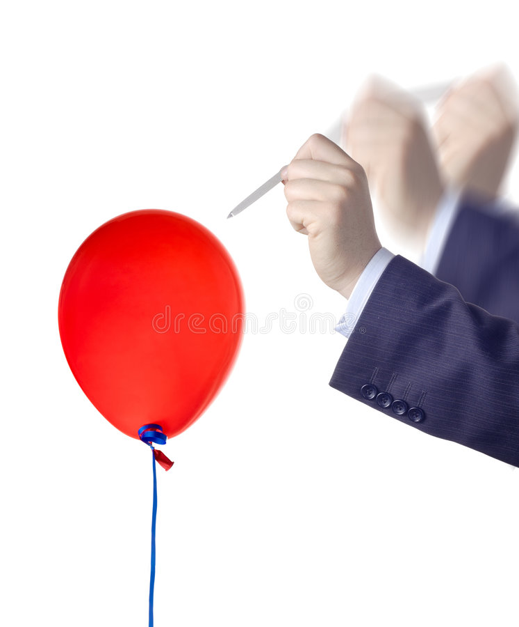 Sprengen Sie einen Ballon lizenzfreie stockbilder
