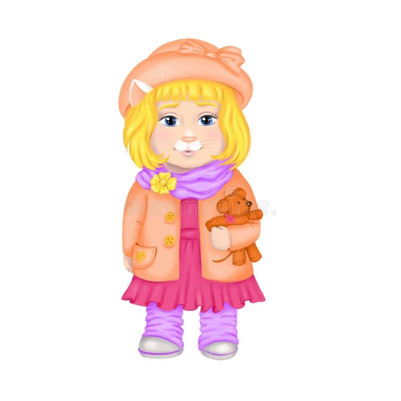 Sprengringkunst-Karikaturkätzchenmädchen kleidet im Frühjahr im Hut für Kindertagesstättenentwurf, Modedruck, Kinderkleidungsgesc stock abbildung