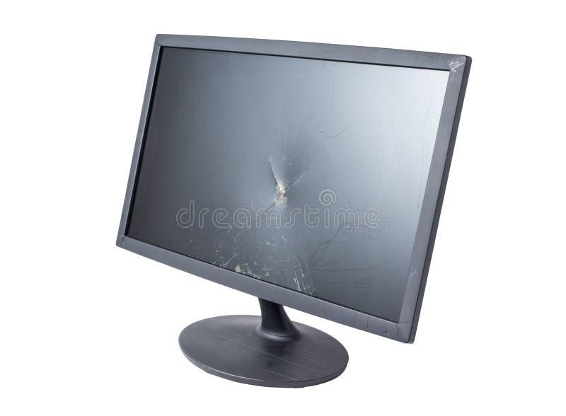Sprickabildskärm på vit arkivfoto